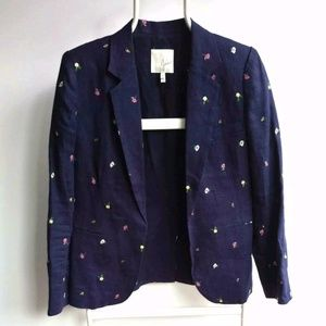 Joie Size US 4 Mehira Navy Blue Embroided Blazer